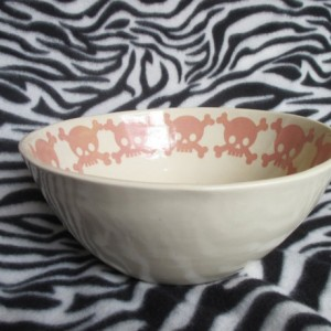 Large Mixing or Serving Bowl Pink Skulls Tattoo Ceramic Pottery Hand Made OHIO USA