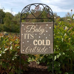 Burlap Christmas Lawn Sign Baby Its Cold Outside Garden Flag