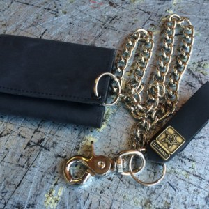 "Mens Basic Trifold Wallet with snaps, 18"" CHROME CHAINS ONLY, US Military Key FOB,Genuine Leather, Army, Navy, Marine, Vets, Air Force"