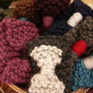 Hand Knit Bow Headband/Ear Warmers