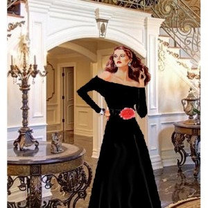 Off The Shoulder Black Tea Length Dress With Stretch Belt And Red Rose Made To Measurement