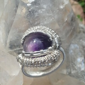 Handmade Brazilian Amethyst wire wrapped ring. Size 8.5
