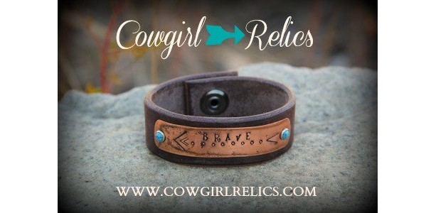Rustic Western Cuff - BRAVE-Brown Leather, Copper, Arrow, Turquoise