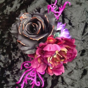 Rose Hair Flower Piece halloween goth festival costume bone drag Headdress Rockabilly Vintage Pin-up