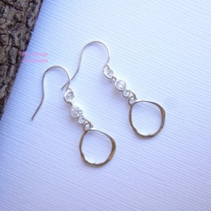 Sterling Silver Organic Circle Drop Earrings with tiny CZ Detail