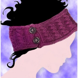 Hand-knitted Burgundy Ear Warming Headband with Vintage-look Button and Cable Detail. Just in time for Christmas Gifting