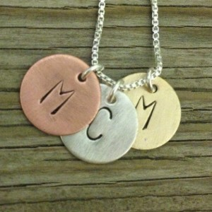 Personalized hand stamped tiny tags- A Tasty Trio- sterling, brass and copper