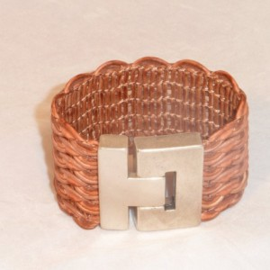 Brown Wavy Braided Bracelet with Magnetic Buckle Style Silver Plated Zamac Clasp