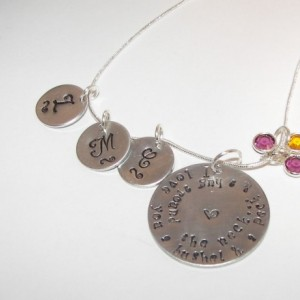 I love you a bushel and a peck custom hand stamped personalized charms necklace. swirl