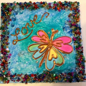 """Beads! Butterflies! Glitz! Shimmer! Whimsical! 6"""" square 3D art with Aqua Blue Background and Gorgeous Beaded Edge. Great Gift for Daughters"""