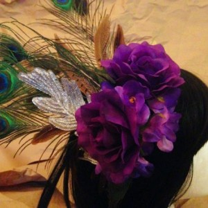 Purple Silver headdress Hair Piece Vintage Pin-up Rockabilly festival goth bellydance costume drag fascinator headband burlesque bridal