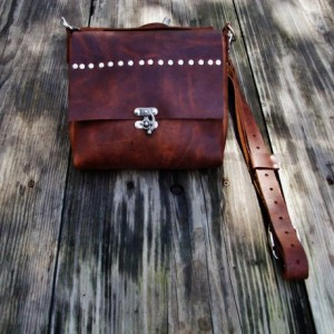 Leather Cross Body Bag with Nickel Rivets and Swivel Closure. Leather Messenger Satchel Bag  Bret Cali Bag Handmade OOAK Ready to Ship