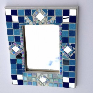 Mosaic Art Mirror featuring Blue, Iridescent and Mirrored tile Ready to Hang Wall hanging attached