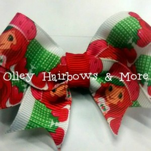 Strawberry Shortcake Accessory Holder with bow Grosgrain Ribbon / Alligator clips / Hair accessories / OOAK / Headbands / Bow holder / clips