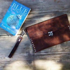 Rustic Leather Wristlet Clutch with Nickel Rivets and Nickel Swivel Clasp by Bret Cali Handmade Leather Purse
