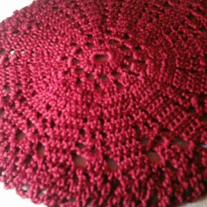 Small Petal Doily in Burgundy