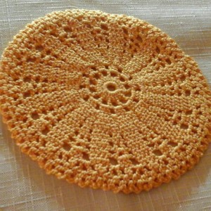 Small Petal doily in Goldenrod