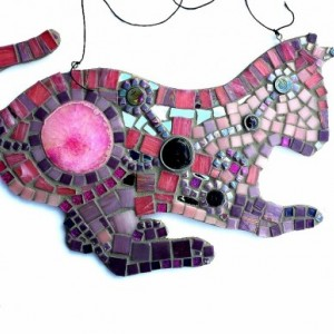 Boho Pink and Purple Cat Mosaic Art Mixed Media Home Decor Wall Hanging. Original Unique Geode Wall Art Ready to Hang.