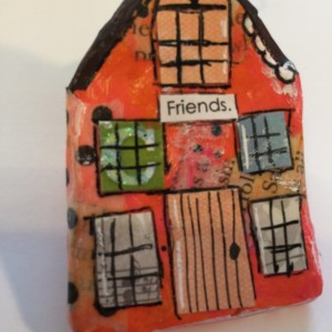 """FRIENDS Whimsical Mixed Media """"Itty Bitty Village Houses"""" Pin in Bright Colors, Patterns, Textures. Great Valentine's Gift! Gift for Mom!"""