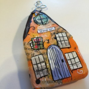 """SHINE ON Whimsical Mixed Media """"Itty Bitty Village Houses"""" Magnet in Bright Colors, Patterns, Textures. Valentine's Gift! Gift for Mom!"""