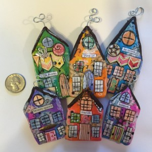 """BELIEVE Whimsical Mixed Media """"Itty Bitty Village Houses"""" Pin in Bright Colors, Patterns, Textures. Great Valentine's Gift! Gift for Mom!"""