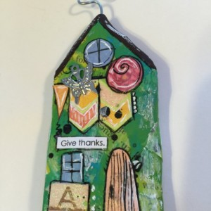 """GIVE THANKS Whimsical Mixed Media """"Itty Bitty Village Houses"""" Magnet in Bright Colors, Patterns, Textures. Valentine's Gift! Gift for Mom!"""