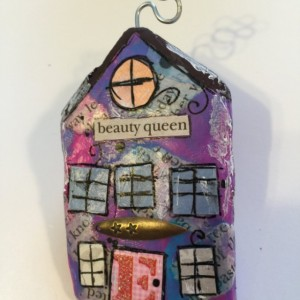 """BEAUTY QUEEN Whimsical Mixed Media """"Itty Bitty Village Houses"""" Pin in Bright Colors, Patterns, Textures. Valentine's Gift! Gift for Mom!"""