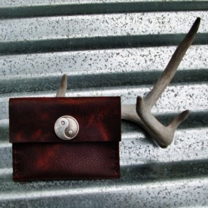 Yin Yang Rustic Handstitched Leather Wallet Leather Pouch Handmade by Bret Cali