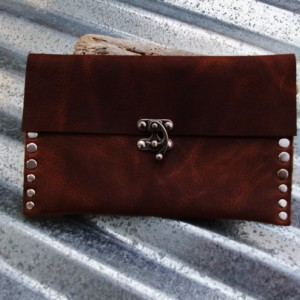 Rustic Leather Clutch with Hand Strap and Nickel Rivets and Nickel Swivel Clasp by Bret Cali Handmade Leather Purse
