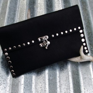 Black Leather Clutch with Hand Strap and Nickel Rivets and Nickel Swivel Clasp by Bret Cali Handmade Leather Purse