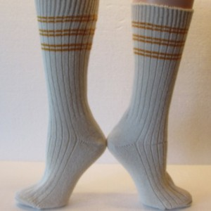 Winter Warm Angora Wool Socks in Cream with Golden Yellow Stripes, Free Shipping