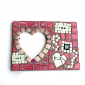 Mosaic Art Heart Picture Frame. Original Mixed Media Artwork. Great Handmade Gift for a Lover, Anniversary Present, or Home Decor.