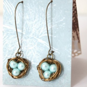 Baby Blue Bird Nest in Bronze Wire Wrapped Earrings Mother, New Mom, Nature Inspired Wedding, Bridesmaid jewelry