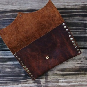 Rustic Leather Clutch With Hand Strap Brass Rivets And