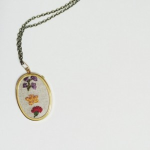 Customized Jewelry Hand Embroidered Birth Flower Necklace Mothers Day Gift Jewelry Under 50 Gifts for Her Birthstone Necklace Personalized