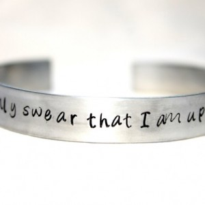 I Solemnly Swear that I am Up To No Good, Harry Potter Inspired, Hand Stamped Bangle, Aluminum Jewelry