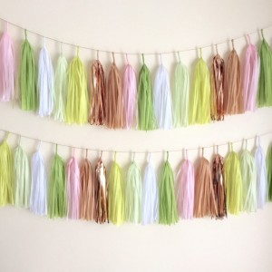 Garden Party Tassel Garland // copper gold blush// event decor // wedding decor // bridal decor // birthday decoration // confetti systems