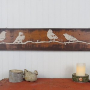 Rustic wooden wall art - hand painted birds on reclaimed wood
