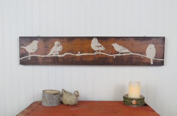 Rustic Wooden Wall Art Hand Painted Birds On Reclaimed