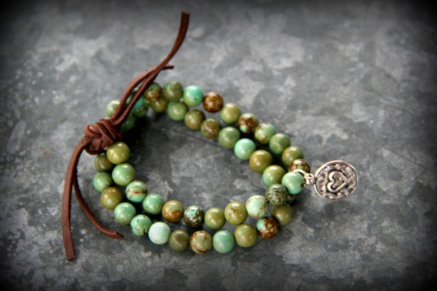 Rustic Western Stretch Bracelet-Turquoise, Leather, Heart
