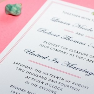 Pretty in Pink - Traditional Wedding Invitation, RSVP Card + Directions / Accommodations Card - Cream Calla Lily - Elegant Border - Simple