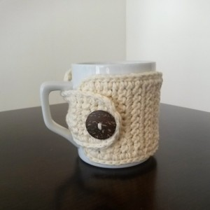 Cream Crochet Coffee Mug Cozy