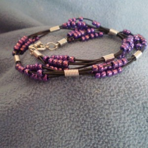 Purple Seed Beads with Leather Bracelet
