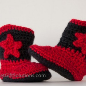 Red and Black Newborn 0-3 month Cowboy Baby Booties with Stars, Western Baby Booties, Star Baby Booties