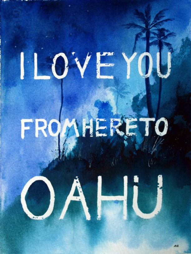Free Shipping Love Oahu Hawaii Surf Art Wave Painting Aftcra