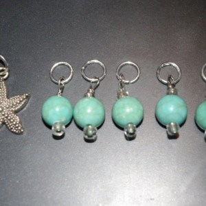 READY TO SHIP Set of 6 Handmade Beaded Stitch Markers Knitting Starfish Acrylic Beads