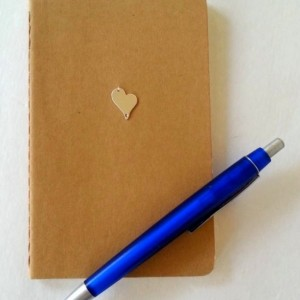 Blank notebook, blank Moleskine cashiers journal with a sterling silver applique, HEART, embellished journal
