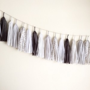 Sweet Dreams Tassel Garland // event decor // nursery // gender neutral // gold stars gray pastel