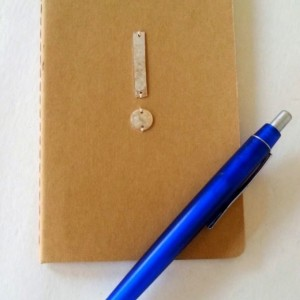 Ruled notebook, ruled Moleskine cashiers journal with a sterling silver applique, EXCLAMATION, embellished journal