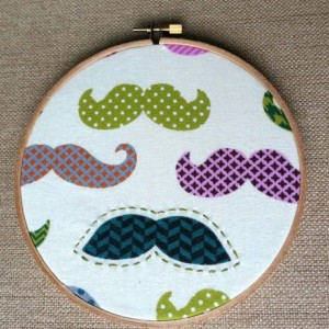 Mustache Embroidery Hoop Wall Hanging